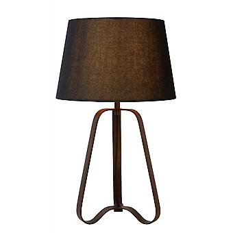 Lucide Capucino Classic Triangle Steel Rust Brown And Black Table Lamp