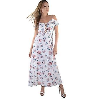 Lovemystyle White Maxi Dress With Floral Print And Lace Up Front - SAMPLE