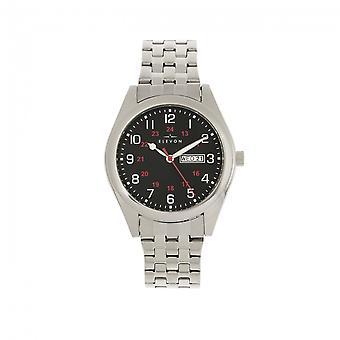 Elevon Gann Bracelet Watch w/Day/Date - Silver/Black