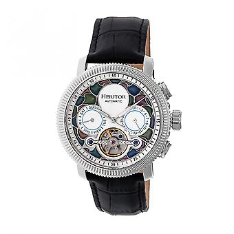 Heritor Automatic Aura Men'S Semi-Skeleton Leather-Band Watch - Silver/White