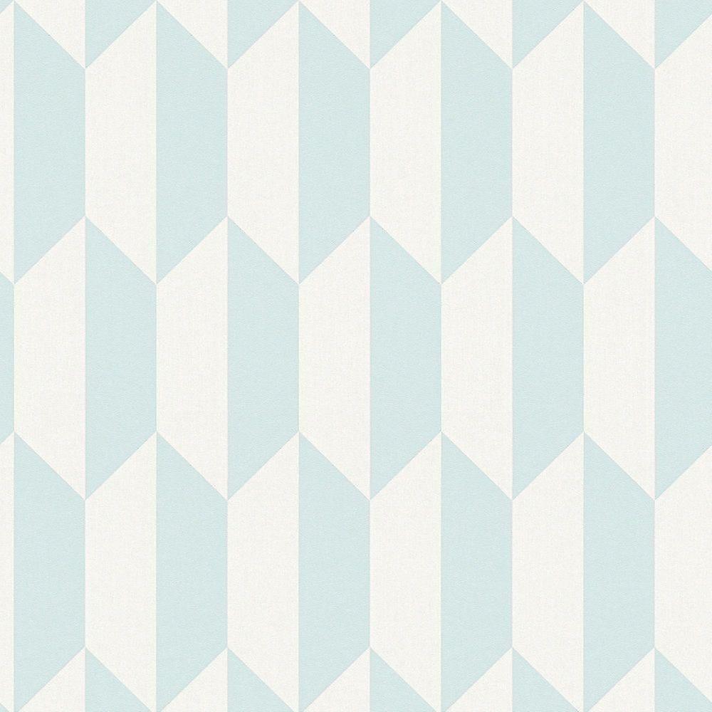 3D Effect Geometric Rhombus Wallpaper Teal White Vinyl Paste Wall AS Creation