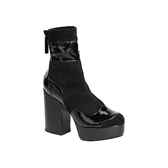 Pierre Hardy Lm05patentblack Women's Black Fabric Ankle Boots
