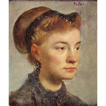 女性の肖像、エドガー・ドガ、27x22cm