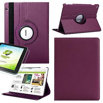 For Samsung Galaxy Tab S5e T720 T725 360 Deble veske deksel veske lilla kunst lærveske ny + 0,3 mm hardt glass