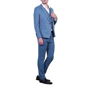 Allthemen Men's Suits 3-Pieces Suits Stripe Cotton Slim Fit Blazer&Pants&Vest