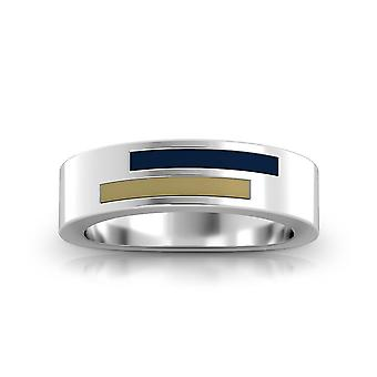 University Of Pittsburgh Sterling Silver Asymmetric Enamel Ring In Blue and Tan