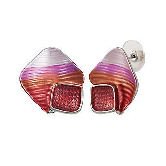 Éternelle Collection Cavalcade émail rouge de Multi couleur argent Stud boucles d'oreilles