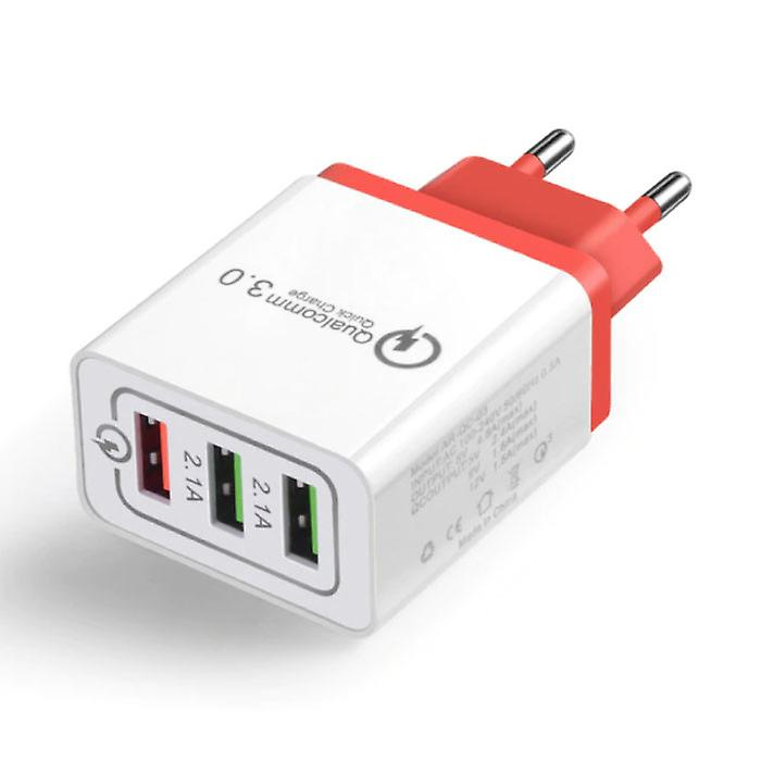 Stuff Certified® Qualcomm Quick Charge 3.0 Triple (3x) USB Port iPhone / Android Wall Charger Wallcharger Red