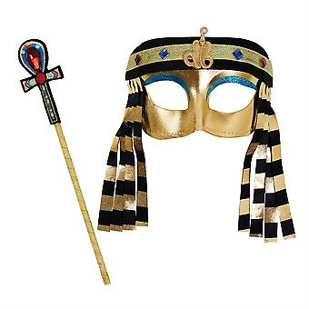 Egyptian Girl Mask + Sceptre Set