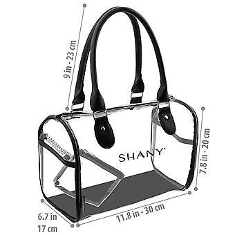 シャニークリア防水キャリーオールハンドバッグ - フェイクレザーハンドル、オープンサイドポケット、取り外し可能な化粧品バッグ付きシースルーPVCトートバッグ