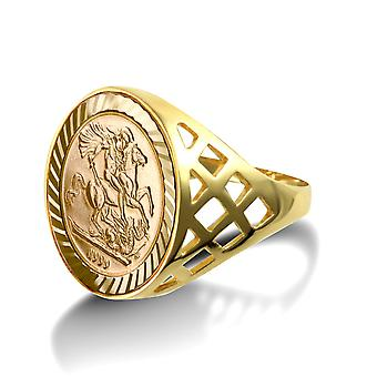 Jewelco London Men's Solid 9ct Yellow Gold St George Dragon Slayer Basket Tenth-Krugerrand-Size Ring