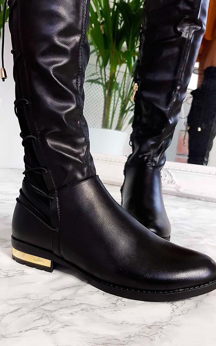 Womens IKRUSH Mads simili cuir dentelle genou arrière hautes bottes