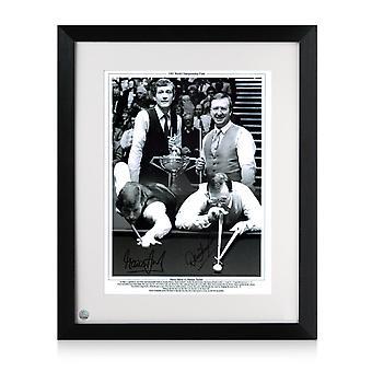 Framed Signed Steve Davis und Dennis Taylor Snooker Foto: 1985 World Championship