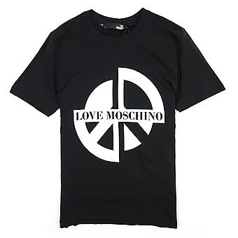 Love Moschino Printed Peace Sign T Shirt Black C74