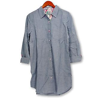 Jane & Becker New York Donne's Sleepshirt Button Giù Blue A264419