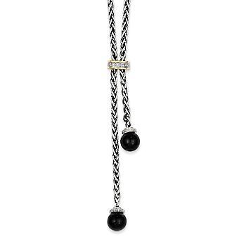 14k gepolijste prong set fancy kreeft sluiting gele diamant gesimuleerde onyx ketting 18 inch sieraden geschenken voor vrouwen