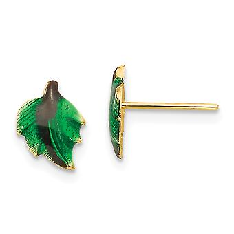14k Yellow Gold Polished Enameled Leaf for boys or girls Post Earrings
