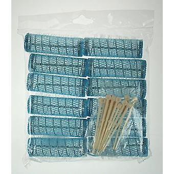 Denman Brush Rollers & Pins Blue 22mm (12)