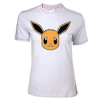 Pokemon T Shirt Eevee Face nouvelles femmes officielles Skinny Fit White
