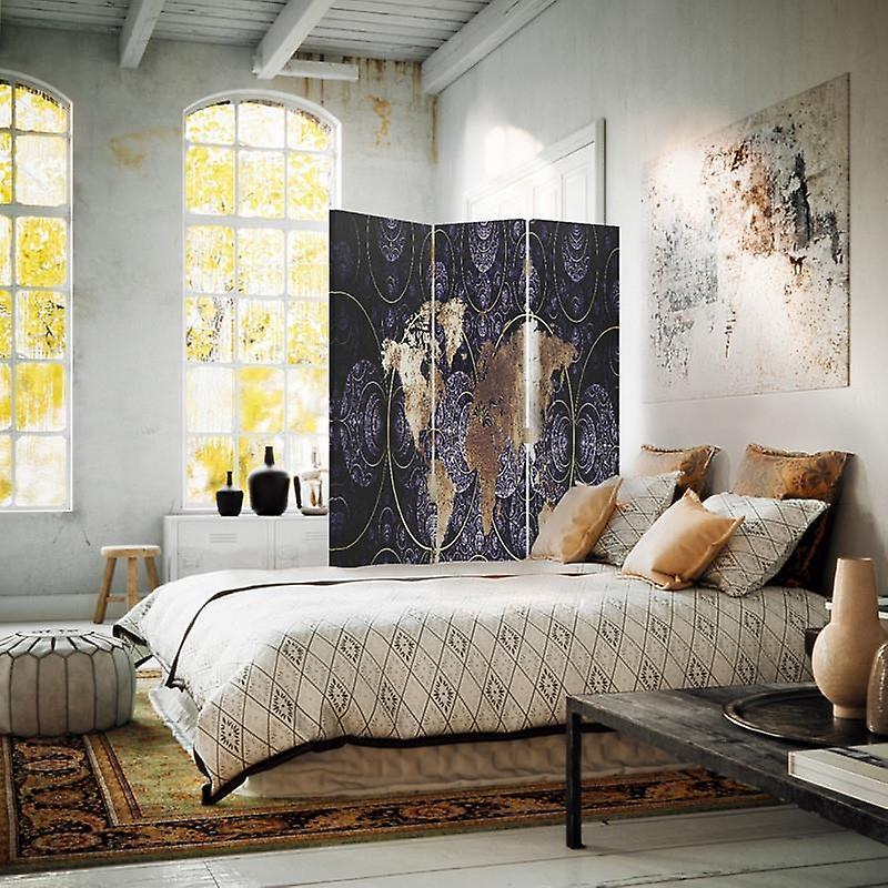 Diviseur de chambre, 3 panneaux, unilatéral, toile, carte du monde