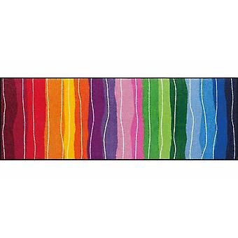 Salon Leeuw voet mat wasbaar pure stijl golvende lijnen kleurrijke 60 x 180 cm, SLD1075-060 x 180