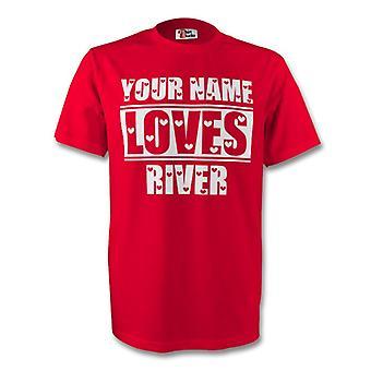 Su nombre le encanta río camiseta (rojo) - niños