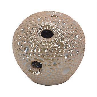 Dimpled Pattern Decorative Ceramic Sea Urchin Orb, Glossy Beige