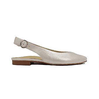 Paul Green 7461-01 Metallic Silver Nubuck Leather Womens Sling Back Shoes