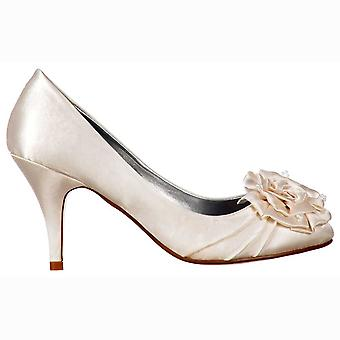 Onlineshoe Low Kitten Heel Bridal Wedding Shoes - Flower And Pearl - Ivory Satin
