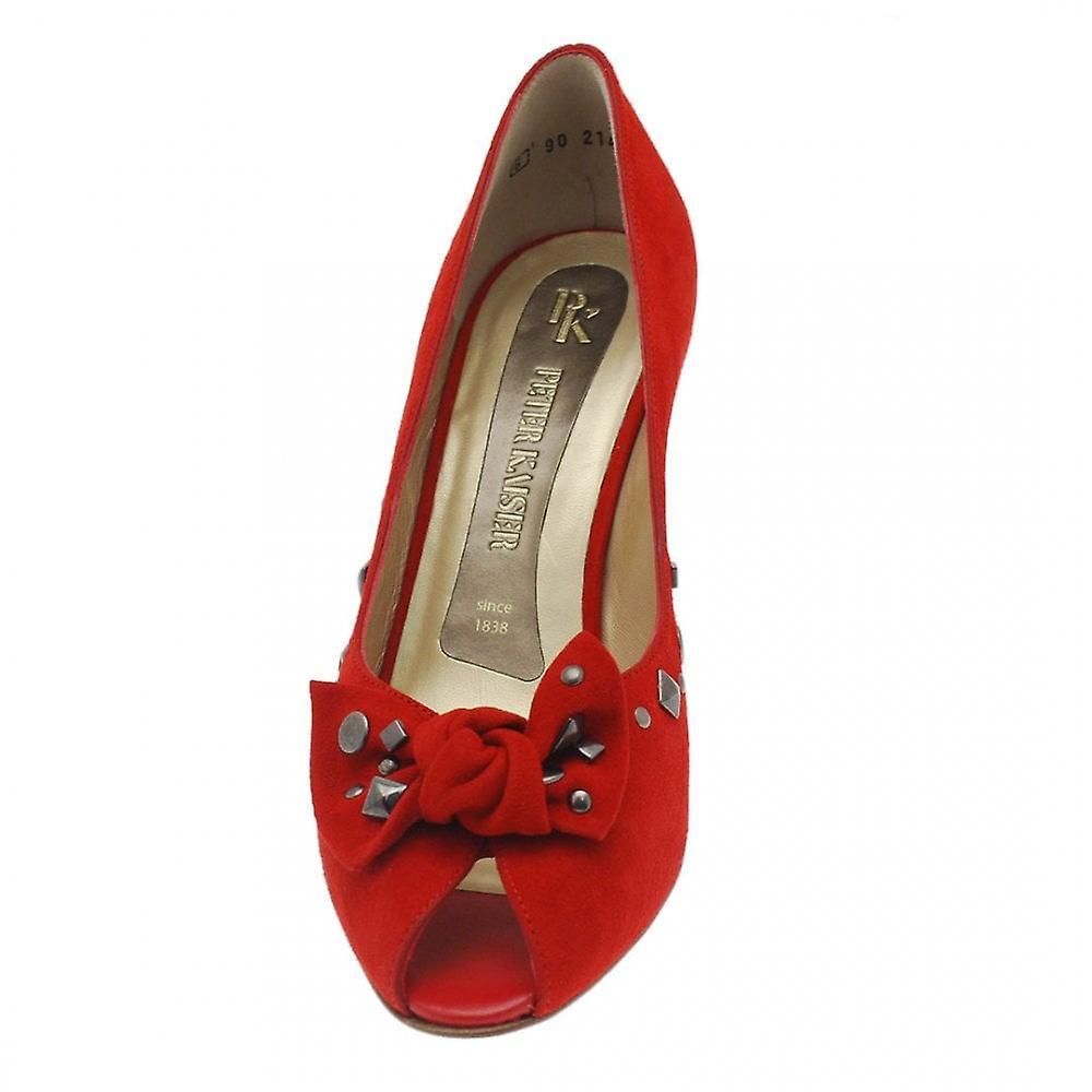 Peter Kaiser Siris rød semsket piggdekk Bow peep toe domstol Shoe
