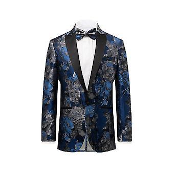 Dobell miesten sininen kukka Jacquard Tuxedo takki säännöllinen sovi kontrasti huippu käänne