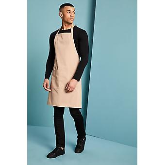 SIMON JERSEY Essentials Popper Strap Apron With Pocket, Biscuit
