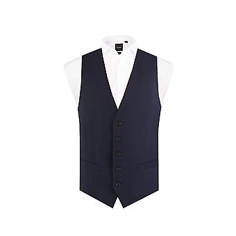 Dobell Mens Navy Suit Waistcoat Regular Fit 5 Button Travel/Performance