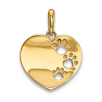 14k for boys or girls Love Heart With Pawprints Pendant Necklace - .6 Grams
