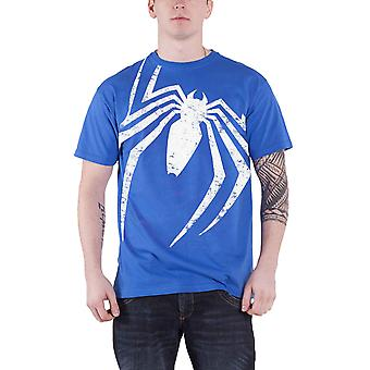 Spiderman T Shirt Acid Wash Spider All over Print new Official Mens Blue