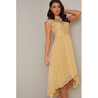Yellow Crochet Dipped Hem Dress