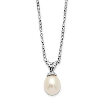 925 Sterling Silver Madi K Rhod plat White Rice 6 7mm Freshwater Cultured Pearl Necklace 14 Inch