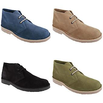 Roamers Mens Real daim Round Toe sans doublure Desert Boots