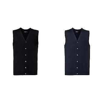 Russell Collection Mens V-neck Sleeveless Knitted Cardigan