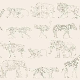 Boutique Safari Animals Wallpaper Cream / Rose Gold Graham and Brown 104894