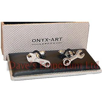 Ring Spanner & Wrench Cufflinks by Onyx Art - Gift Boxed - DIY Mechanic