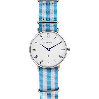 Watch Andreas Osten AO-83 - Blue Nylon Watch Bo Mixed Silver Tier