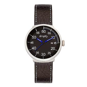 Simplify The 7100 Leather-Band Watch w/Date - Black
