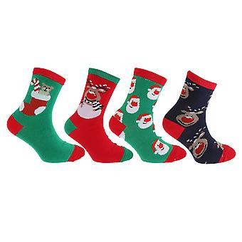 Childrens/Kids Unisex Christmas Novelty Socks (Pack Of 4)