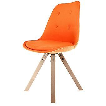 Fusion Living Eiffel Inspiré Orange Fabric Dining Chair with Square Pyramid Light Wood Legs