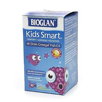 Bioglan kids smart hi dha fish oil, chewable burstlets, berry, 30 ea