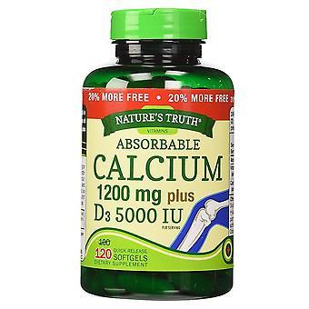 A verdade absorvível de cálcio, 1200 mg, mais d3,5000 iu, softgels, 120 ea