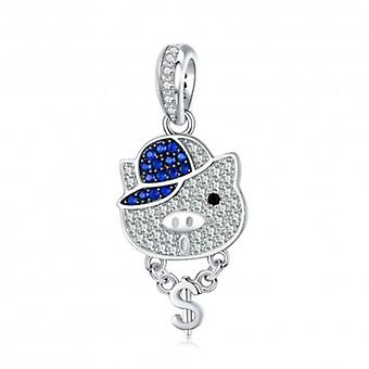 Sterling Silver Pendant Charm The Social Pig - 6058