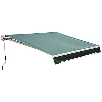 Outsunny 2.5m x 2m Garden Patio Manual Awning Canopy Sun Shade Shelter Retractable with Winding Handle Green