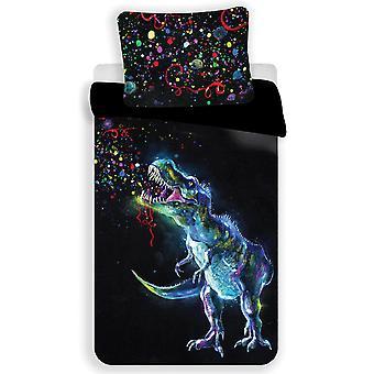 Dinosaur Colour Single Cotton Duvet Cover Set - European Size